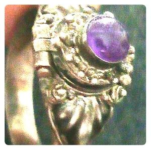 Genuine amethyst and silver poison ring